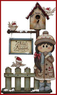 #pinturadecorativa Diy Christmas Videos, Christmas Wood, Christmas Crafts, Merry Christmas, Christmas Decorations, Christmas Ornaments, Wood Crafts, Diy And Crafts, Tole Painting Patterns