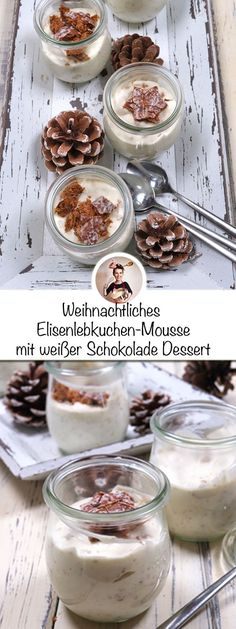 Dessert recipes, recipe for a white mousse with Elisen gingerbread. - Dessert recipes, recipe for a white mousse with Elisen gingerbread. White chocolate and and Elisen - Desserts For A Crowd, Fancy Desserts, Fancy Cakes, Dessert Dips, Dessert Table, Dessert Recipes, Mousse, Raffaello Dessert, Candy Cane Coloring Page