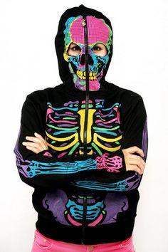 Banned -Neon Luurankohuppari   Cybershop Happy Halloween, Halloween Costumes, Halloween Stuff, Skeleton Hoodie, Creepy, Girl Fashion, Autumn Fashion, Neon, My Style