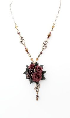 Black-Burgundy Rose-Lily Bouquet on Garnet Necklace-Earrings S9287600 by Whispering Rose Jewelry