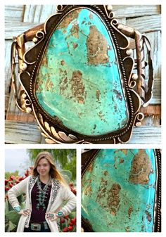 Navajo Turquoise Cuff Bracelet Sterling Silver Huge – Yourgreatfinds