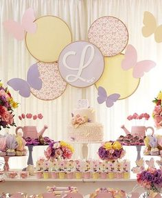 Love the backdrop-Enchanted Butterfly Garden Birthday Party Butterfly Garden Party, Butterfly Birthday Party, Butterfly Baby Shower, Garden Birthday, Baby Birthday, First Birthday Parties, Birthday Party Decorations, Butterfly Party Decorations, Birthday Ideas
