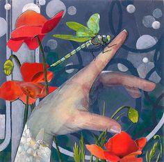"Robin Birrell ""Gentle Landing"" mixed media collage"