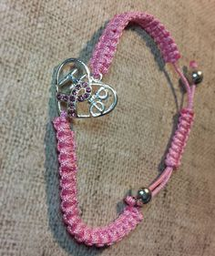 Handmade Crystal Ribbon Breast Cancer Awareness Hope Adjustable Charm Bracelet - Bracelets