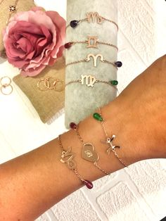 New personalised horoscope and letter bracelets with amethyst and jade