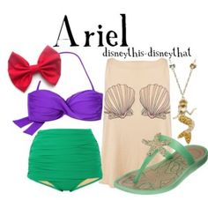 Ariel [as a mermaid] (Bikini by DisneyThis-DisneyThat @Polyvore) #TheLittleMermaid