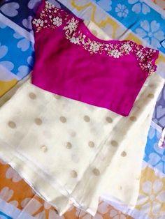 I want to buy saree nd blouse Saree Blouse Neck Designs, Simple Blouse Designs, Stylish Blouse Design, Bridal Blouse Designs, Maggam Work Designs, Fancy Sarees, Ethnic, Wedding, Dresses