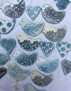 anjies air dry clay birds impressed with lace old wooden printing blocks and leaves pottery ceramics brooches blue and white pottery - PIPicStats Crafts For Kids, Arts And Crafts, Clay Birds, Ceramic Birds, Clay Ornaments, Paperclay, Diy Clay, Air Dry Clay Crafts, Clay Projects