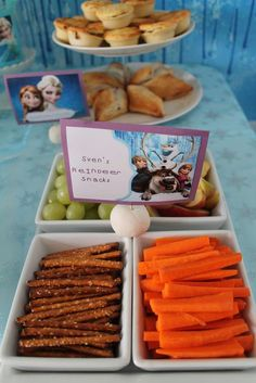 Sven's reindeer snacks at a Frozen birthday party! See more party planning ideas at CatchMyParty.com!