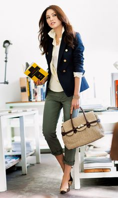 Army green pants and a navy blue blazer.