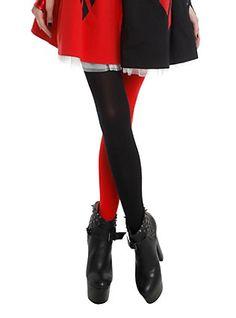 Black and Red Split Leg Tights,