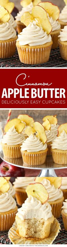 Apple Butter Cupcakes - a deliciously easy cupcake recipe with apple butter in both the cupcake and frosting for lots of great apple flavor | by Lindsay Conchar for TheCakeBlog.com by tamra