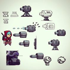 Working on some turret concepts for Bullet Age. #gamedev #indiedev #BulletAge