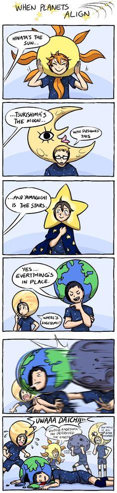 히나타는 태양이고, 츠키시마는 달. (누가 이거 디자인했냐..) 그리고 야마구치는 별이야. 음... 모든 게 완벽해. 카게야마는 어딨어? (충돌) 으아아악 다이치!! (카게야마 네가 지구을 부쉈어!!) (응으으음!! 우우으으음!!!) (너 그거 반대로 썼잖아...)