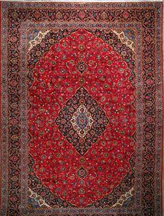 """Kashan Persian Rug, Buy Handmade Kashan Persian Rug 13' 4"""" x 19' 6"""", Authentic Persian Rug"""