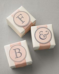 We're loving these monogrammed boxes for favors and jewelry! #weddings