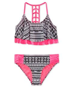 Laguna Girls' 2-Piece Tribal-Print Bikini Swimsuit