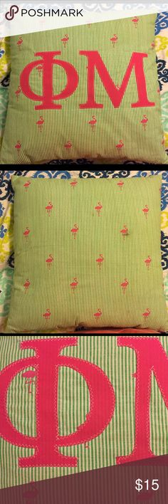Phi Mu Flamingo pillow Adorable flamingo print pillow with Phi Mu letters sewn on - in great condition except two small stains on back (see 2nd and 4th pics). Pillow is approx 16x16 inches. Will bundle! 💕 Other