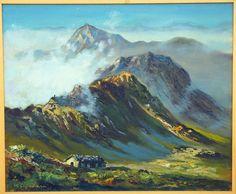 Vintage Signed K Soguhara Framed Oil Painting Detailed Mountain Landscape | eBay