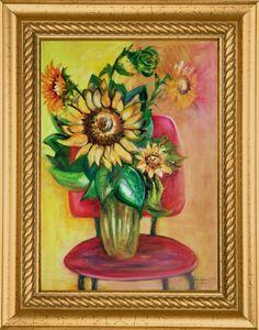 Napraforgók, csendélet Mindszentiné Mandula képzőművész nyáridéző festménye How To Make, Painting, 3d, Google, Painting Art, Paintings, Painted Canvas, Drawings