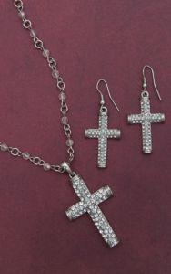 Blazin Roxx® Silver Crystal Cross Jewelry Set 30426 | Cavender's