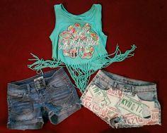 Set 2 Denim Shorts and Tank Shirt LEI South Padre Island GY Made LA Junior sz 1    eBay