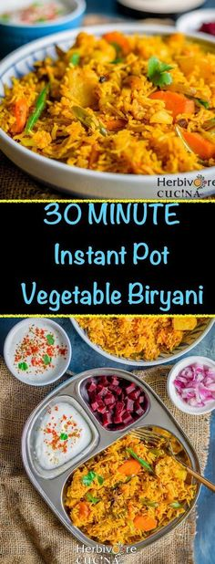 Herbivore Cucina: 30-Minute Instant Pot Vegetable Biryani...Ready in under 30 minutes, this Instant Pot Vegetable Biryani is flavorful, delicious and easy to make. This easy to follow Indian rice recipe is definitely a keeper! #biryani #instantpot #ricedi Vegetarian Biryani, Vegetable Biryani Recipe, Vegetarian Recipes, Healthy Recipes, Rice Recipes, Healthy Meals, Yummy Recipes, Chicken Recipes, Healthy Eating