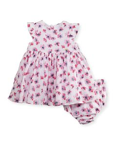Sleeveless Smocked Floral Watercolor Dress w/ Bloomers, Multicolor, Size 6-24 Months