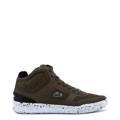Featuring a fabric synthetic leather upper and rubber sole, these sneakers from Lacoste are stylish, comfortable and perfect worn any time. Lacoste Sneakers, Sneakers Mode, Lacoste Men, Men's Fashion, Mens Fashion Shoes, Sneakers Fashion, Fashion Vintage, High Tops, Green Sneakers