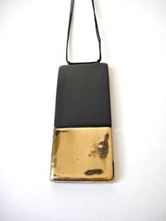 Rectangle Pendant by Syra Gomez (hand-sculpted porcelain necklace with glistening 22k gold luster)