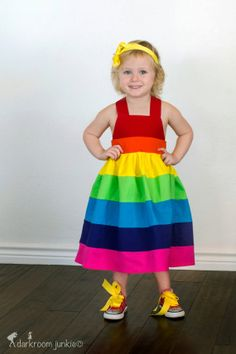 Rainbow dress brightPartyDressbaby birthday by StitchItUpBoutique, $47.00