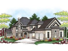 Caesar European Home Large European Influenced Two-Story With Stone Accents from houseplansandmore.com