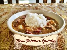 New Orleans Gumbo----Onions, celery, garlic, green pepper, tomatoes, okra, smoked sausage, cooked chicken, shrimp, creole seasoning like Tony ----, garlic salt and File----but only in each individual bowl.  It will spoil the pot if it heats too long.  Serve with jasmine rice.