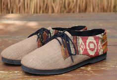 Vegan Men's Shoes Oxford In Natural Hemp & Ethnic Laos Embroidery Handmade Shoes by SiameseDreamDesign, $46.00
