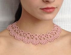 Rose pink tatted necklace  choker  tatted jewellery by SILHUETTE, Ft12,500.00