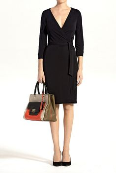 DVF New Julian Two Matte Jersey Wrap Dress in Black