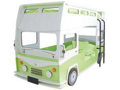 Lit superposés camion 90 x 190 cm BUSSY coloris vert clair et blanc prix promo Lit Enfant Conforama 599.00 €