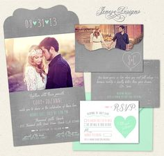 Wedding Invitation  Boutique Tri Folded Photo Design von Jeneze