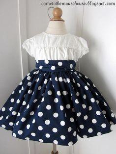 navy/white polka dot dress