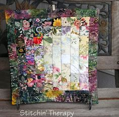 """Stitchin' Therapy: Watercolor Quilts  Squares in a Square A mini table topper  quilt in watercolor style made for Project Quilting 2013 Challenge.  Size is 14"""" by 14""""."""