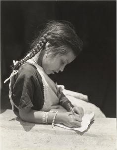 Untitled (Girl with Braids Writing), ca. photographed by Tina Modotti Untitled (Girl with Braids Writing), ca. photographed by Tina Modotti Tina Modotti, Edward Weston, Modern Photography, Black And White Photography, Fashion Photography, Henry Westons, City C, Diego Rivera, Famous Photographers