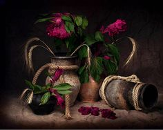 Still life vase jars flowers abstract
