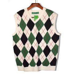 Argyle Sweater Vest - Mens White/Dark Green/Navy