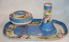 Antique Noritake M Nippon Hand Painted Vanity Hair Receiver Tray Hat Pin Holder | eBay