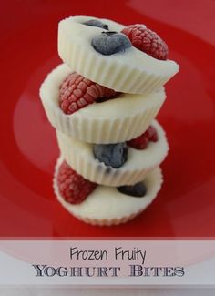 Easy and healthy frozen fruity yogurt snack.