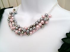 Pink and Silver Gray Beaded Necklace, Pink Bridesmaid Jewelry, Cluster Necklace, Chunky Necklace, Bridesmaid Gift