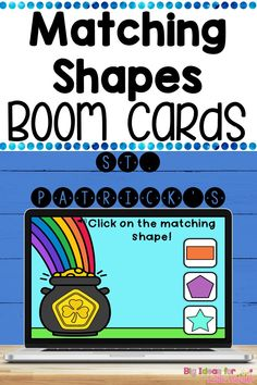 Need a fun, interactive activity to get your students engaged in practicing shape recognition? Paperless, digital Boom cards are a self correcting, fun, & hands on way to get your students engaged in learning! Students look at the leprechaun, clover, & shamrock shapes in the middle and click on the matching shape. No worksheets and no prep needed! These are perfect for Preschool or Kindergarten March math centers this St. Patrick's Day holiday! Great for distance learning & homeschool too! Engage In Learning, Learning Shapes, Student Learning, Fun Learning, Interactive Activities, Activities For Kids, Shape Matching, Early Math, Preschool Age