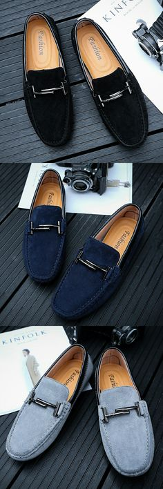 US $29.05 <Click to buy> Luxury Brand Retro High Quality Vintage Urban Suede Men Loafers Shoes Breathable Horsebit Decoration Leather Driving Shoe Male