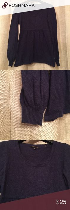 BCBG Navy Blue Sweater BCBG navy blue sweater has a baby doll fit. Cuffs are ribbed. This a soft and warm sweater made with wool. Size Medium. BCBGMaxAzria Sweaters Crew & Scoop Necks