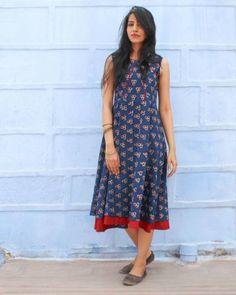 Indigo Pleated Dress I Shop at :http://www.thesecretlabel.com/designer/medhya